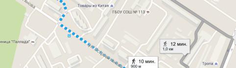 Схема прохода к клубу Самбо-70 от метро »Коньково»
