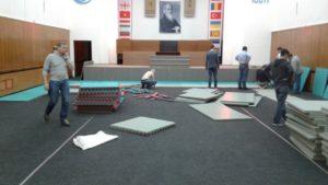 Подготовка зала к семинару С.Сэки (8 дан) по айкидо