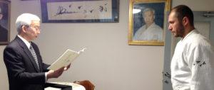 Сихан В.И.Грачев (6 дан) с Досю Моритэру Уэсибой